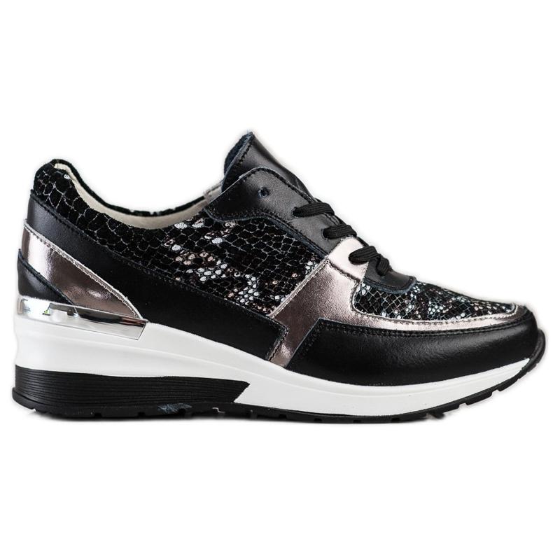 Goodin Black Leather Snake Print Sneakers
