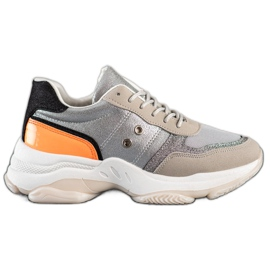 SHELOVET Comfortable fashionable sneakers silver multicolored