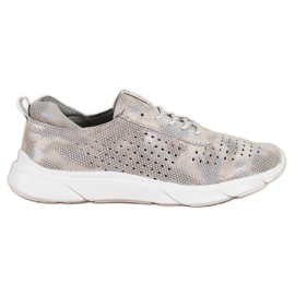 Goodin Shiny Leather Sneakers beige grey golden