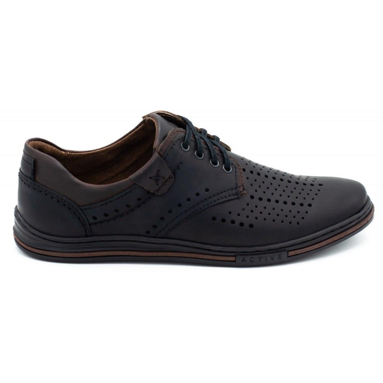 Polbut Leather shoes for men 402 summer black with brown multicolored