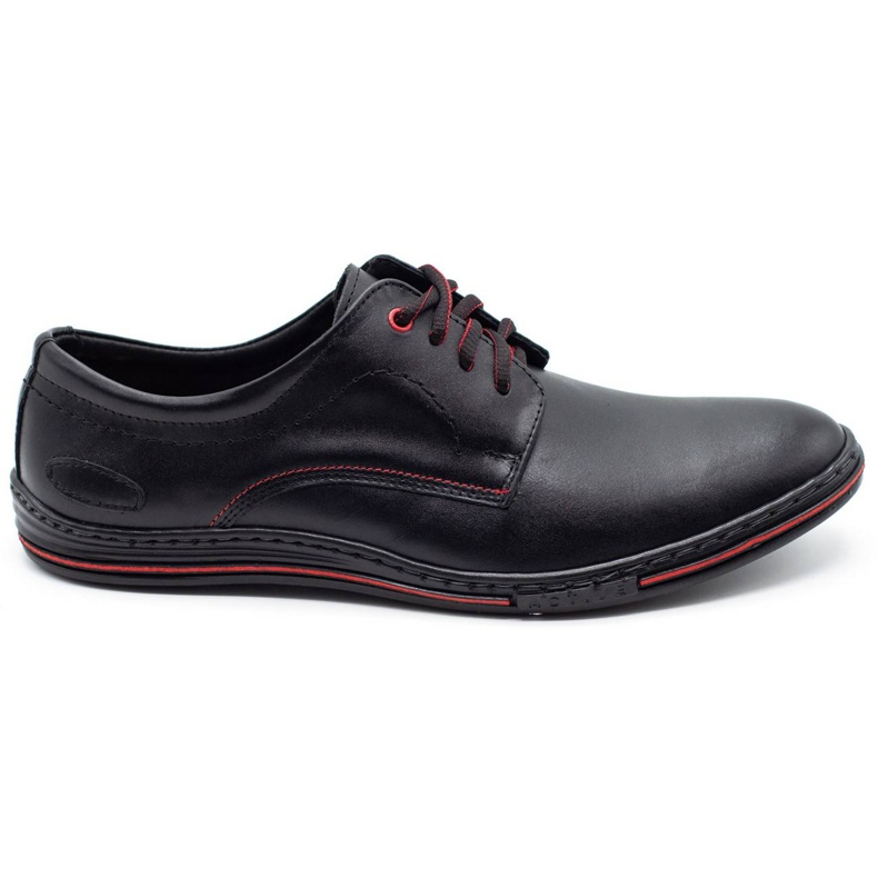 Lukas Leather men's shoes 295LU black with red