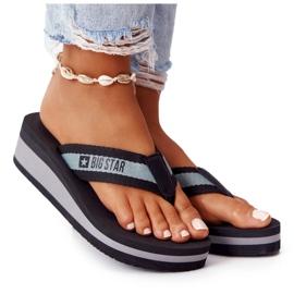 Women's flip-flops on the wedge Big Star HH274A096 Black grey