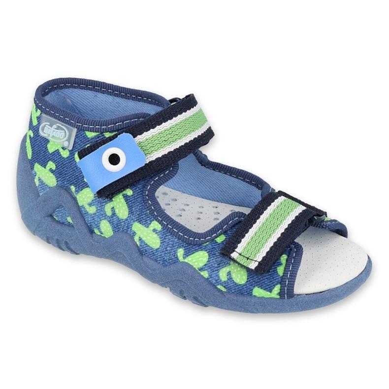 Befado yellow children's shoes 350P019 navy blue green