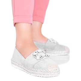 Gray espadrilles decorated with Cuban Vibe stones grey