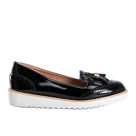 Golden hour black lacquered loafers