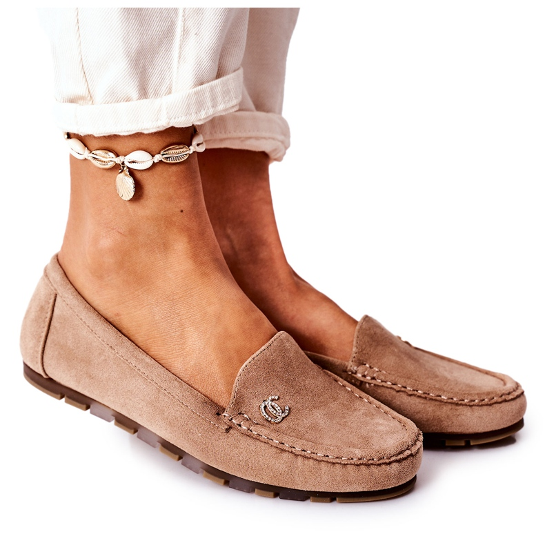 PS1 Women's Suede Loafers Light Brown Madelyn beige