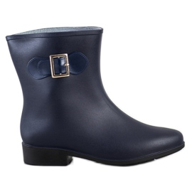 SHELOVET Rubber galoshes with buckle navy blue