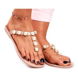 LU BOO Women's Rubber Slippers Beige Flip-flops Edith pearls pink