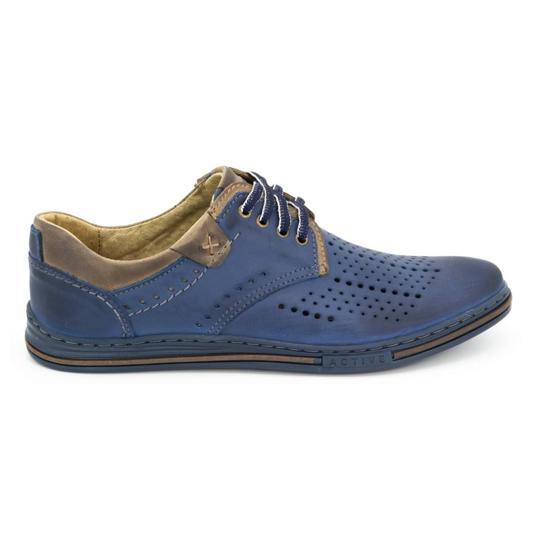 Polbut Leather shoes for men 402 summer navy blue with brown multicolored