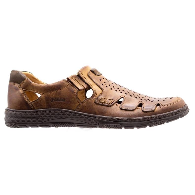 Joker Men's summer leather shoes, slip-on 500J brown