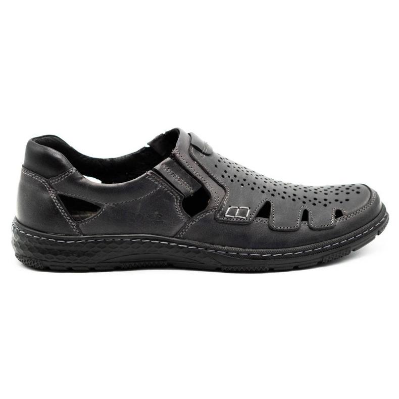 Joker Men's summer leather shoes, slip-on 500J gray grey