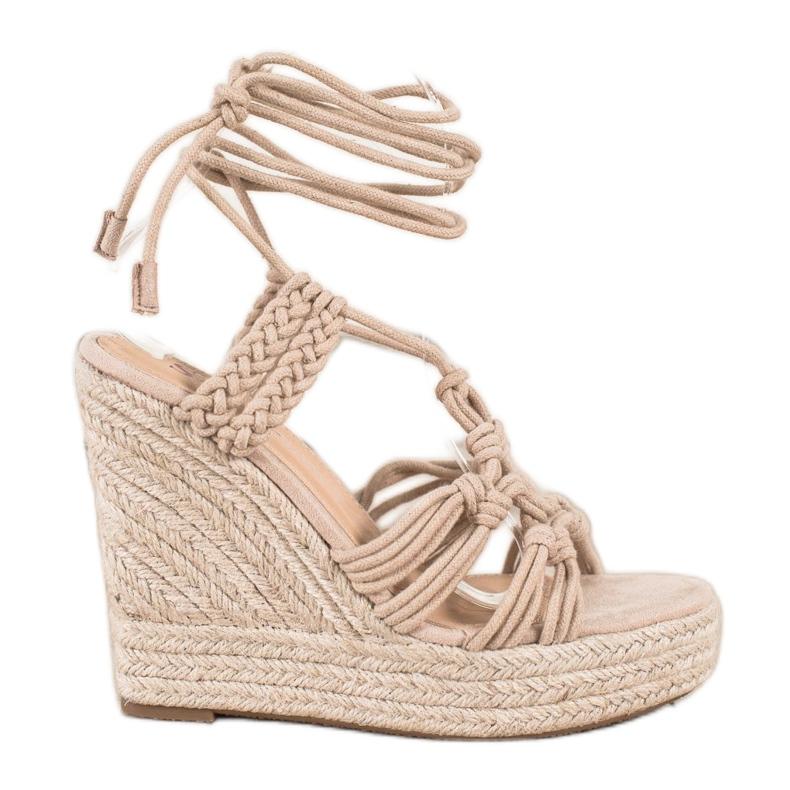 Seastar Tied Sandals On A High Wedge beige