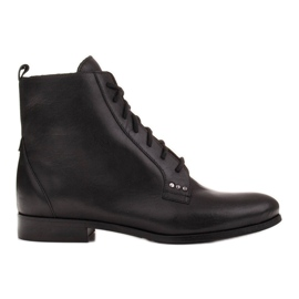 Marco Shoes Leather boots with a flat sole black
