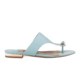 Marco Shoes Flat flip-flops in mint color with a metallic heel green