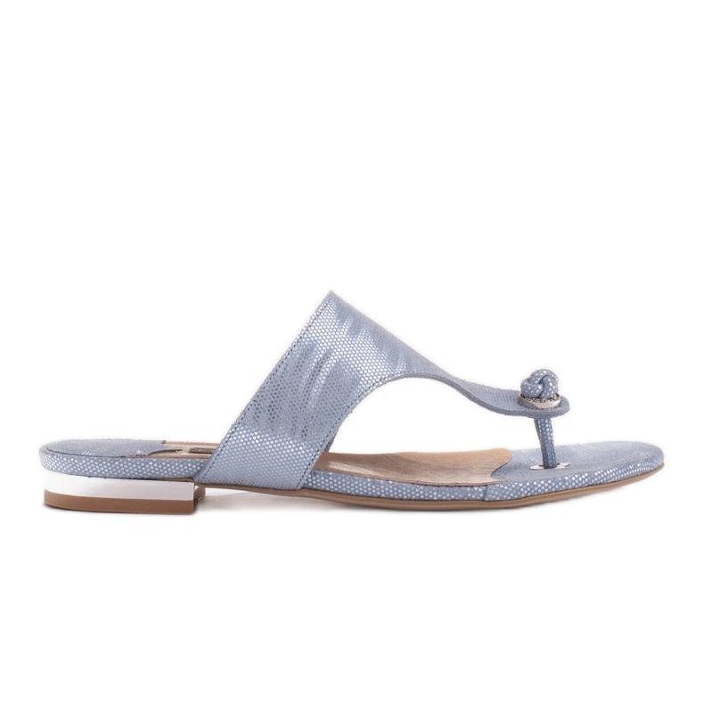 Marco Shoes Flat leather flip-flops with metallic heel blue
