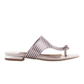 Marco Shoes Flat sandals with lacquer and metallic heel white silver