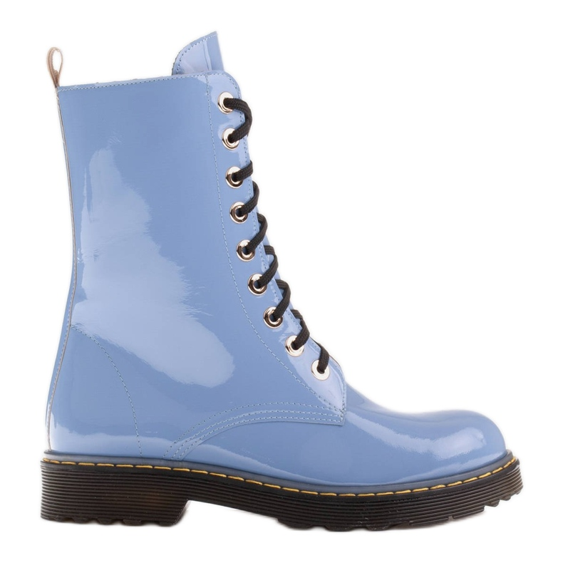 Marco Shoes High ankle boots, boots tied on a translucent sole blue
