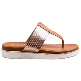 Cm Paris Comfortable Eco Leather Flip-Flops brown golden