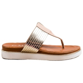 Cm Paris Comfortable Eco Leather Flip-Flops beige golden