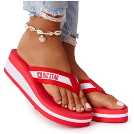 Women's flip-flops on the wedge Big Star HH274A095 Red white
