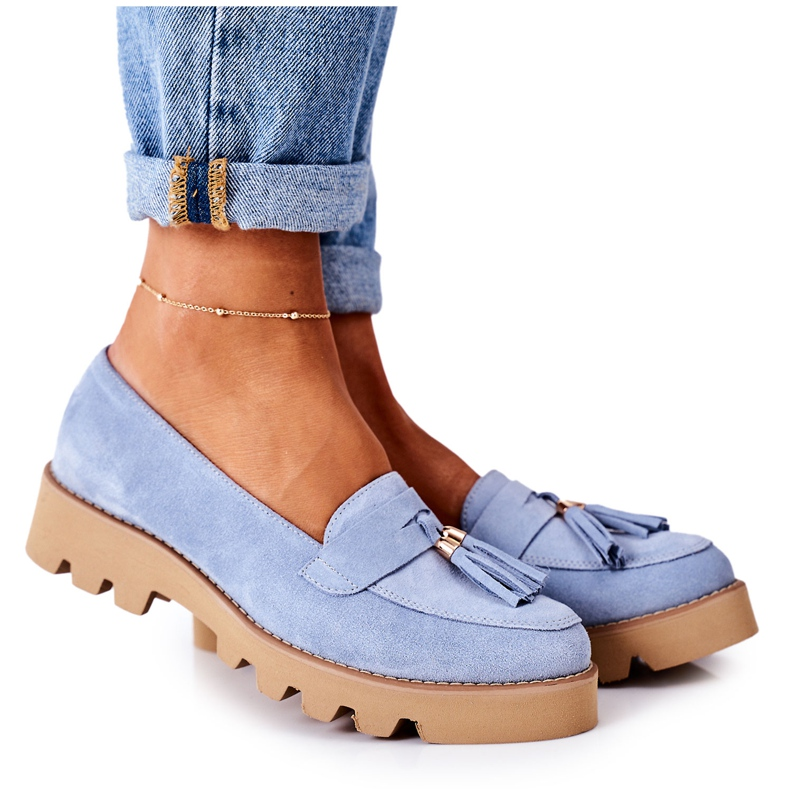 Suede loafers Lewski Shoes 3053 Blue