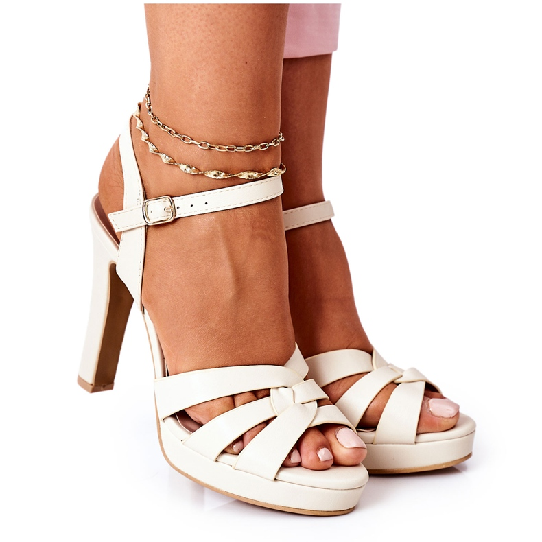 PW1 Elegant Sandals On A Bar Beige Anastasia