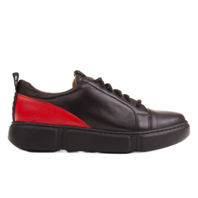 Marco Shoes Black leather sneakers with an insert on the heel