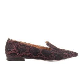 Marco Shoes Lordsy ballerinas made of suede leather in a snakeskin pattern black