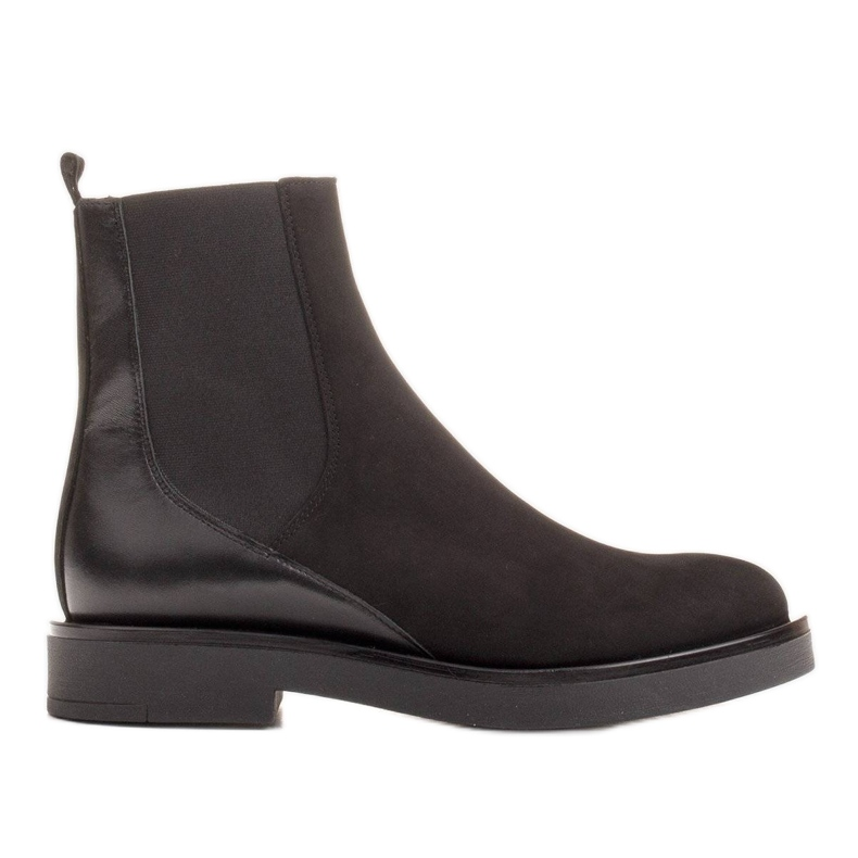 Marco Shoes Flat leather ankle boots with insulation with a wide rubber in the upper black