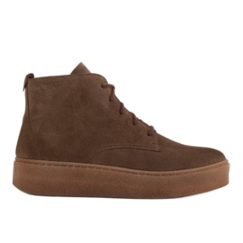 Marco Shoes Low lace-up boots made of soft leather brown green