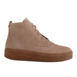 Marco Shoes Low lace-up boots made of soft leather beige