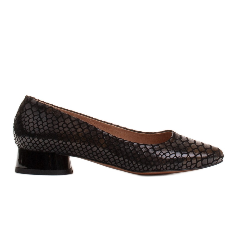 Marco Shoes Snakeskin ballerinas with a round heel black