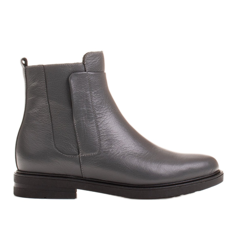 Marco Shoes Light boots insulated with a flat bottom made of natural leather grey