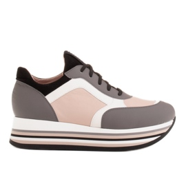 Marco Shoes Light sneakers on a thick sole made of natural leather grey