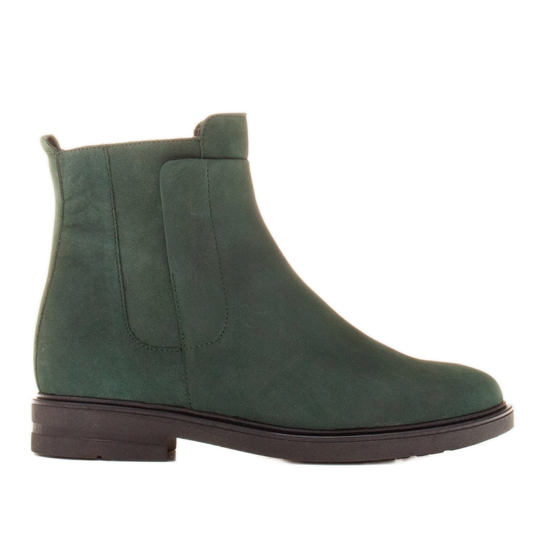 Marco Shoes Light boots insulated with a flat bottom made of natural leather green
