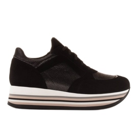 Marco Shoes Light sneakers on a thick sole made of natural leather black