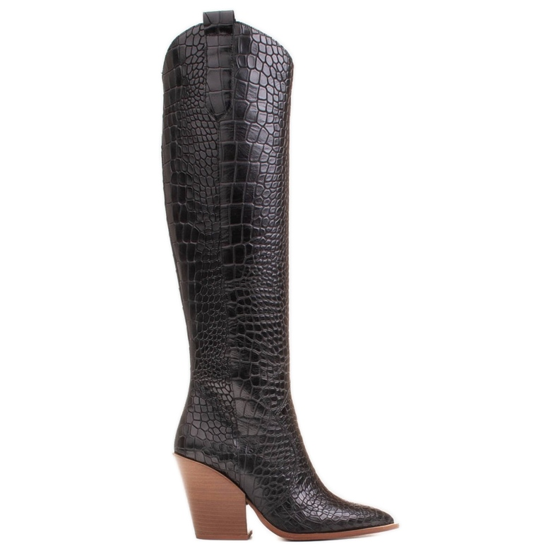 Marco Shoes High boots for women cowboy boots, croco pattern black