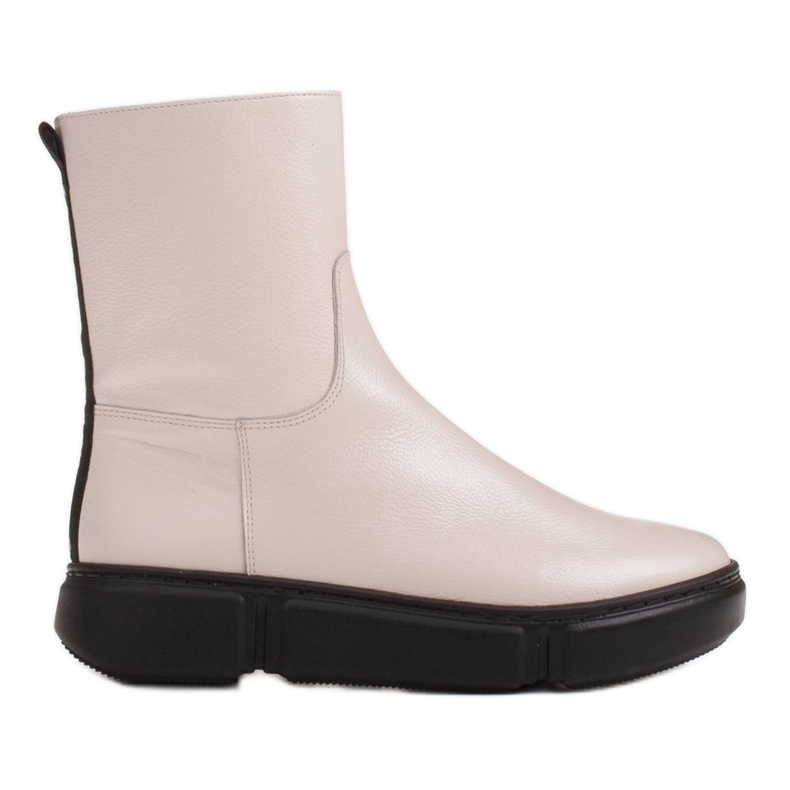 Marco Shoes Sporty white ankle boots made of soft natural leather