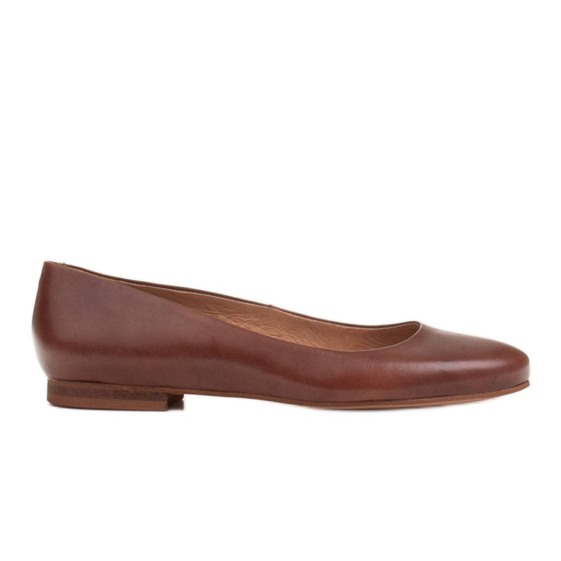 Marco Shoes Ballerinas made of brown grain leather, hand polished