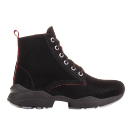 Marco Shoes Sporty women's nubuck boots with red inserts black