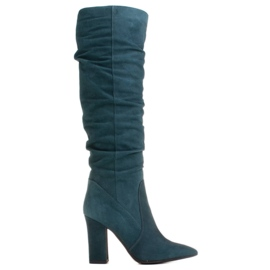 Marco Shoes Green high, crinkled boots made of natural suede