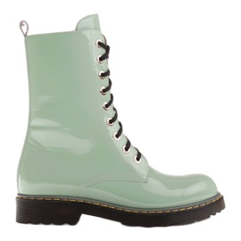 Marco Shoes High ankle boots, boots tied on a translucent sole green