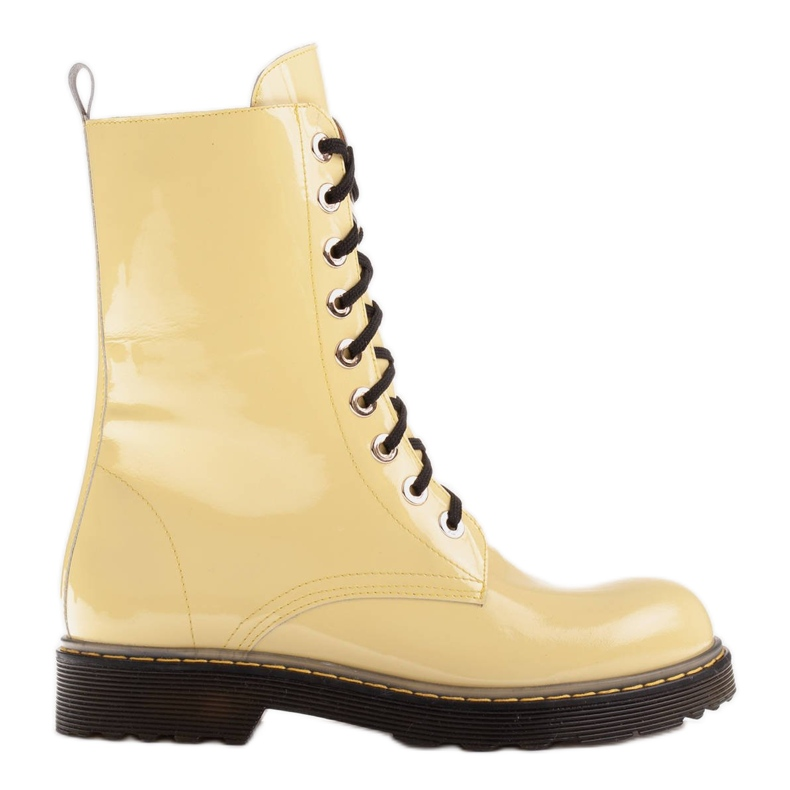 Marco Shoes High ankle boots, boots tied on a translucent sole yellow