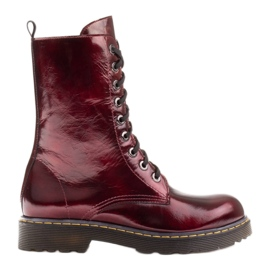 Marco Shoes High ankle boots, boots tied on a translucent sole red