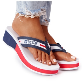 Women's flip-flops on the wedge Big Star HH274A093 White navy blue
