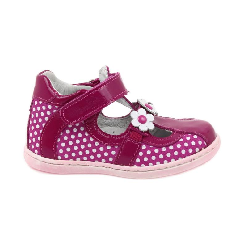 Ren But Polka dot ballerinas with flowers Ren 267 pink white