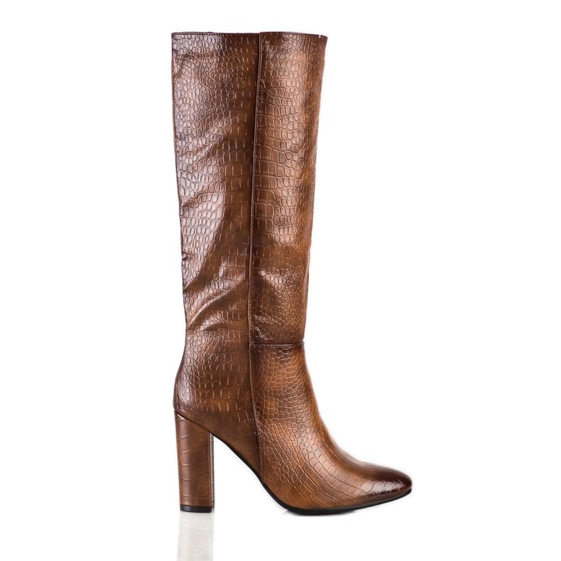 Seastar Snake Print boots brown