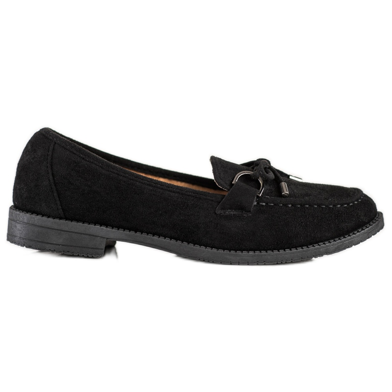 SHELOVET Suede Loafers With A Bow black