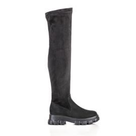 SHELOVET Suede Platform Boots black