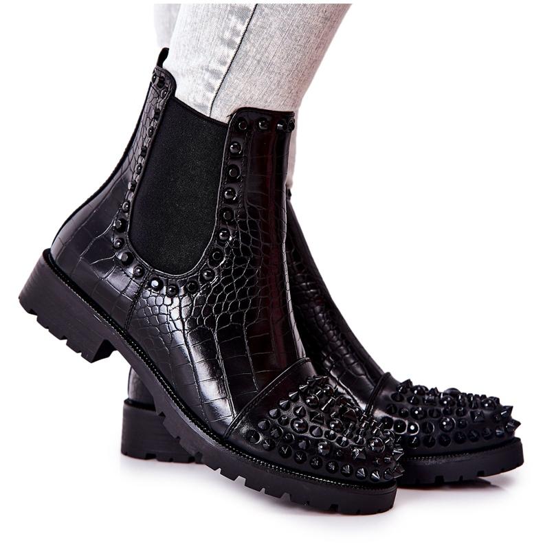 Black Monah Jodhpur Boots With Jets